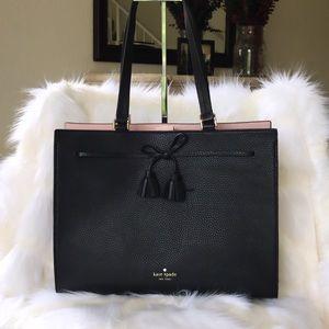💃Kate Spade Hayes Tote Handbag Warm Black Leather